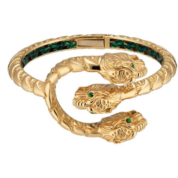 3d12fb06c Gucci Dionysus Yellow Gold Enamel Tiger Head Cuff Bracelet ($8,300) ❤ liked  on Polyvore