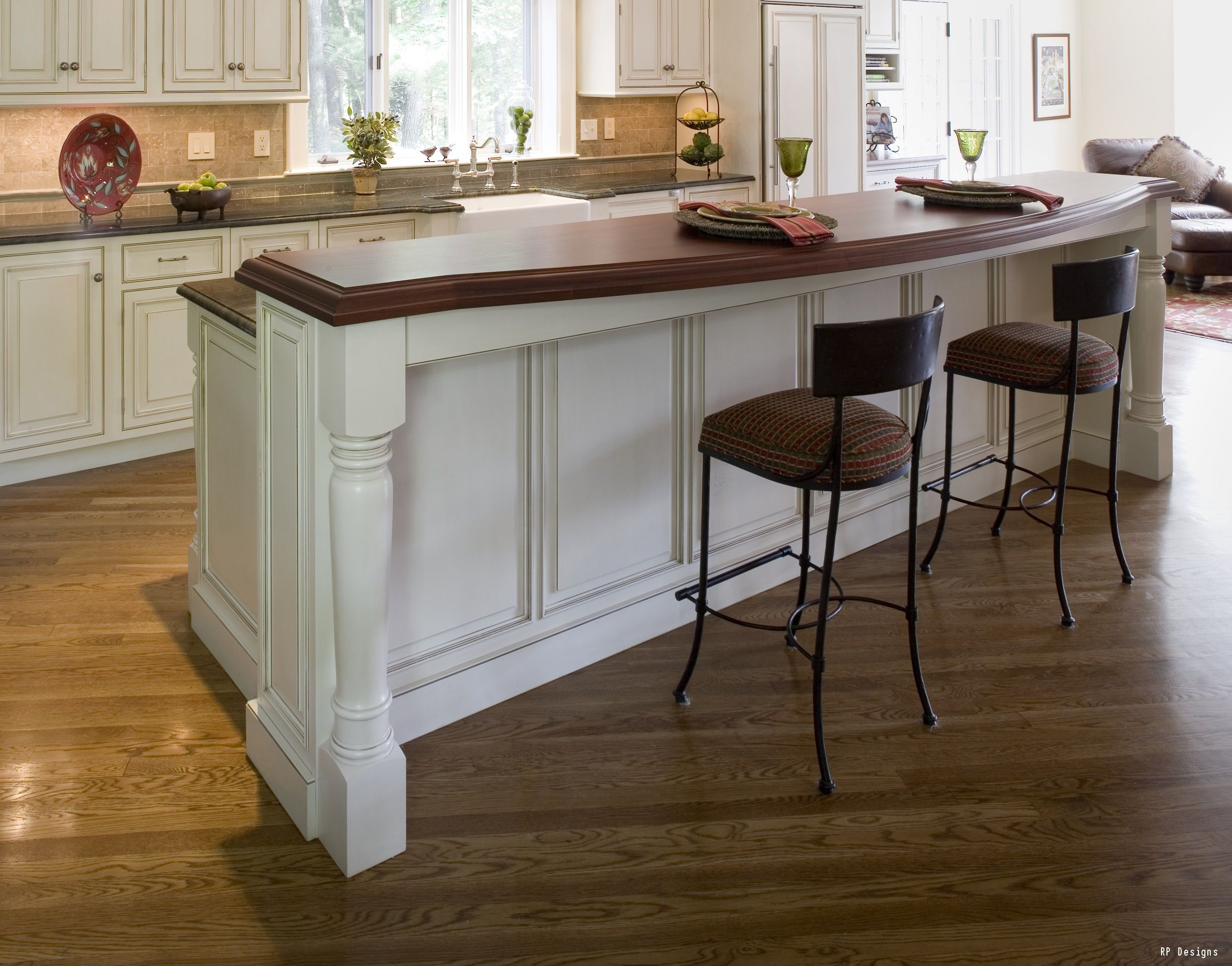 A Gorgeous White Island With A Flawless Wood Countertop The