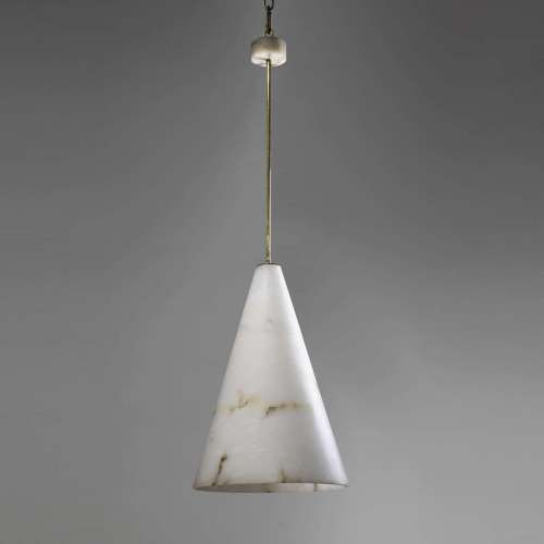 Massive Alabaster Cone Light With Alabaster Ceiling Rose And