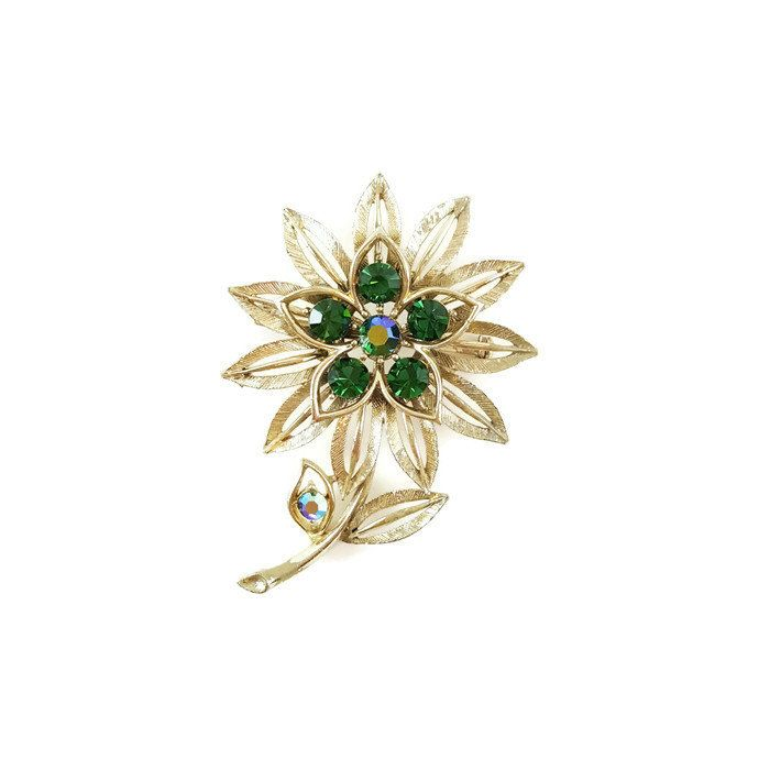 Lisner Green Flower Brooch Gift for Her Vintage Designer Costume