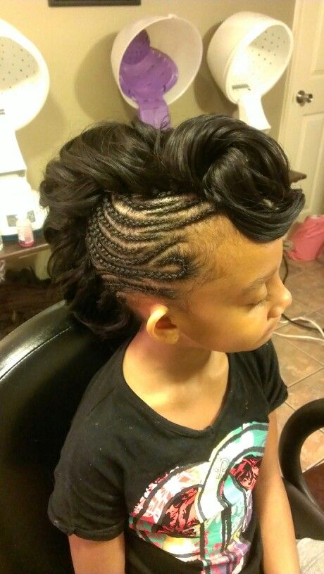 Black Girls Hairstyles Cornrow Mohawk W Curl