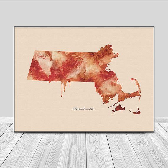 Image 0 Watercolor Map Watercolor Illustration Massachusetts Map