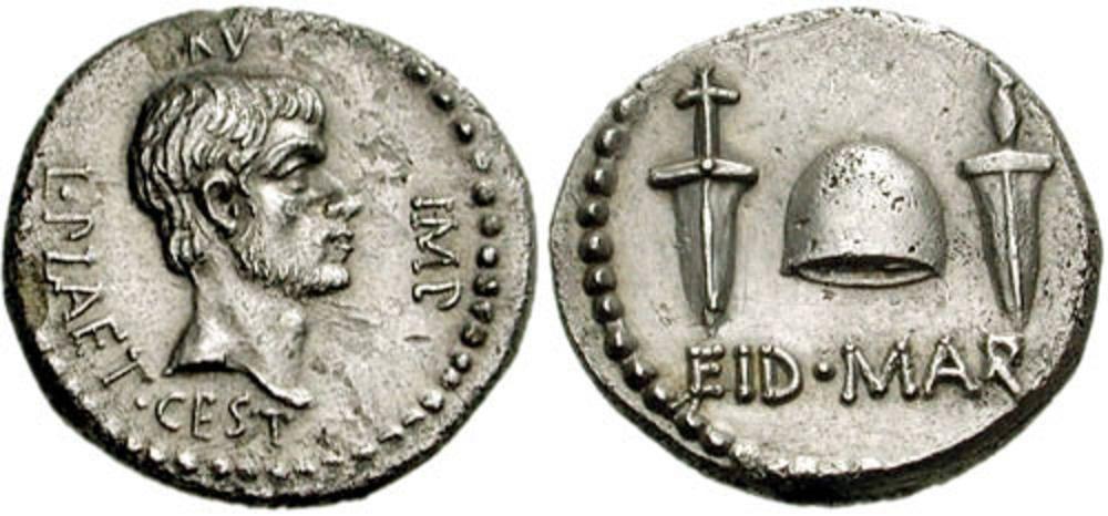 Eid Mar Roman Coin 20-G Brutus Roman Empire Assassination of Julius Caesar,