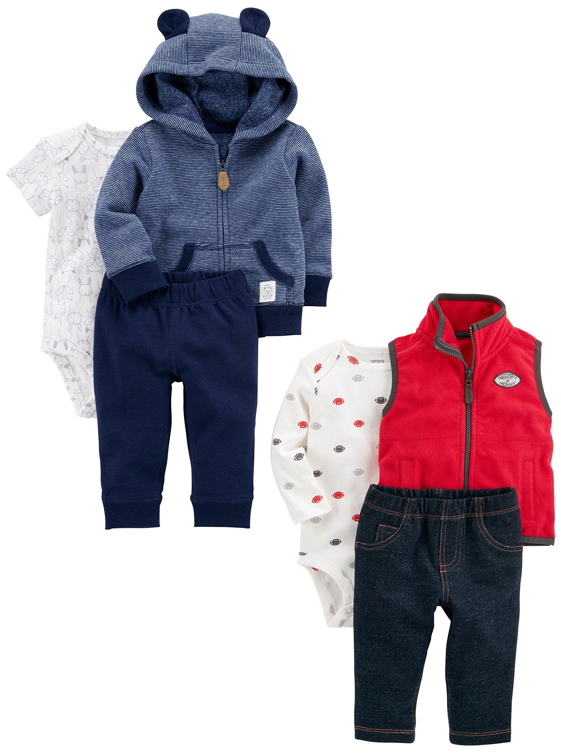 Carter s Baby Boys 6 Piece Jacket and Vest Set Navy Stripe Red 12