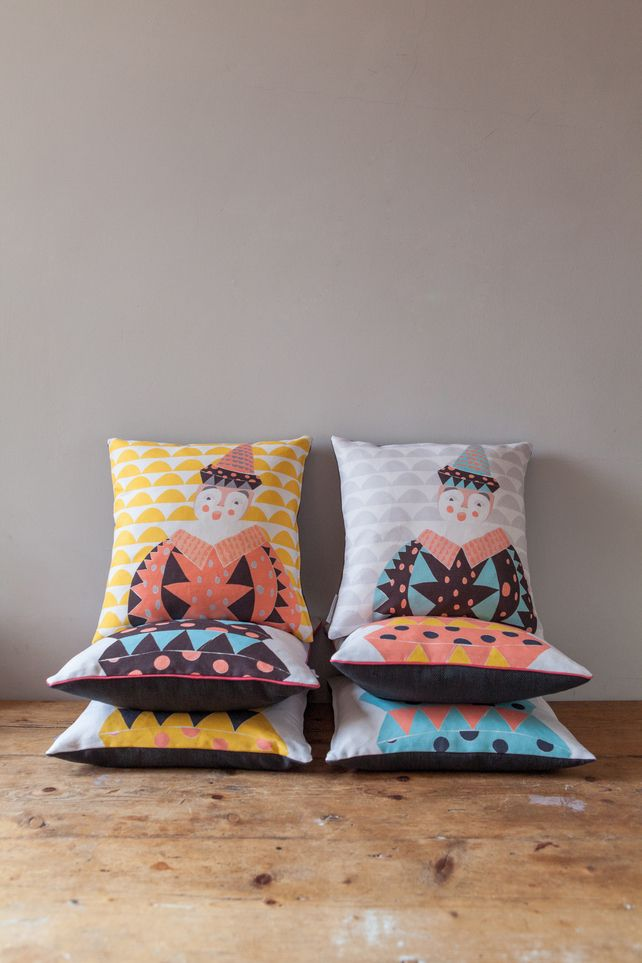 Butterscotch & Beesting//Jack the Circus Clown Cushion Cover - free postage//Folksy