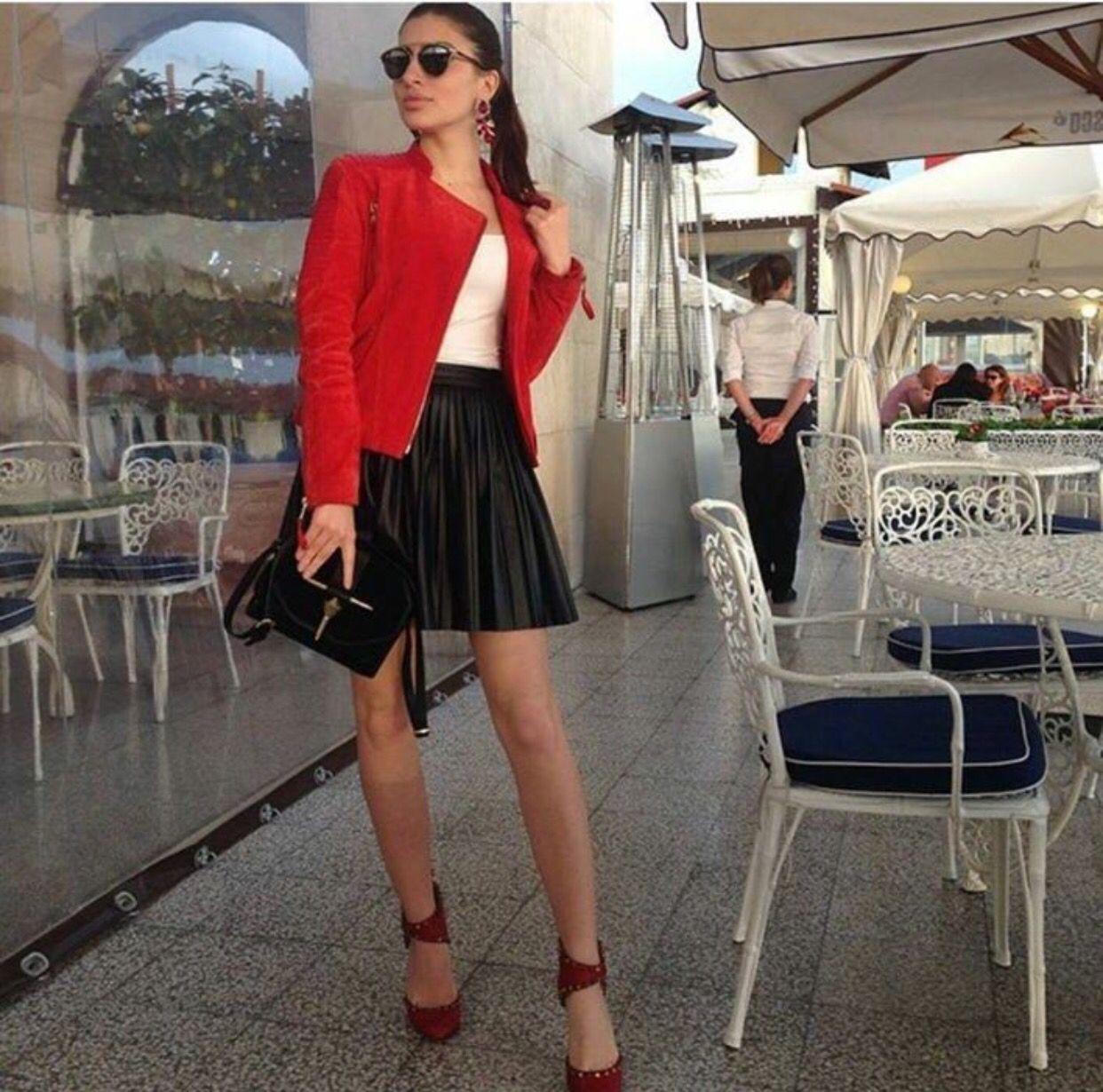 Black leather skirt, white shirt and red jacket | Black ...