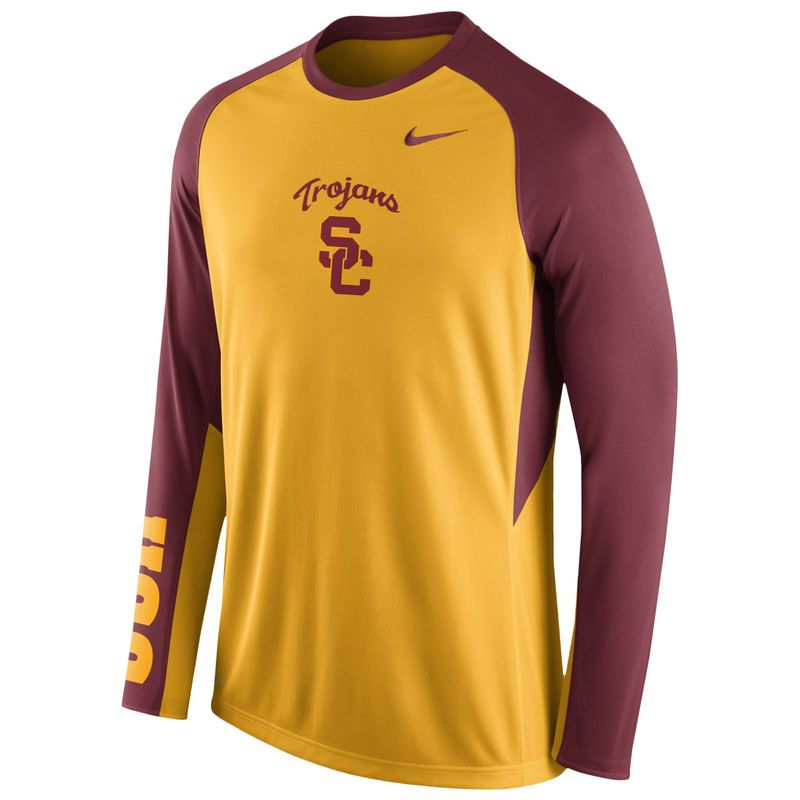 975e8137 USC Trojans Nike Elite Basketball Pre-Game Shootaround Long Sleeve Dri-FIT  Top - Gold