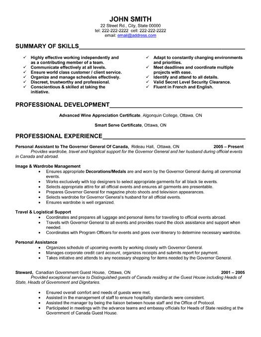 a resume template for a personal assistant  you can download it and make it your own