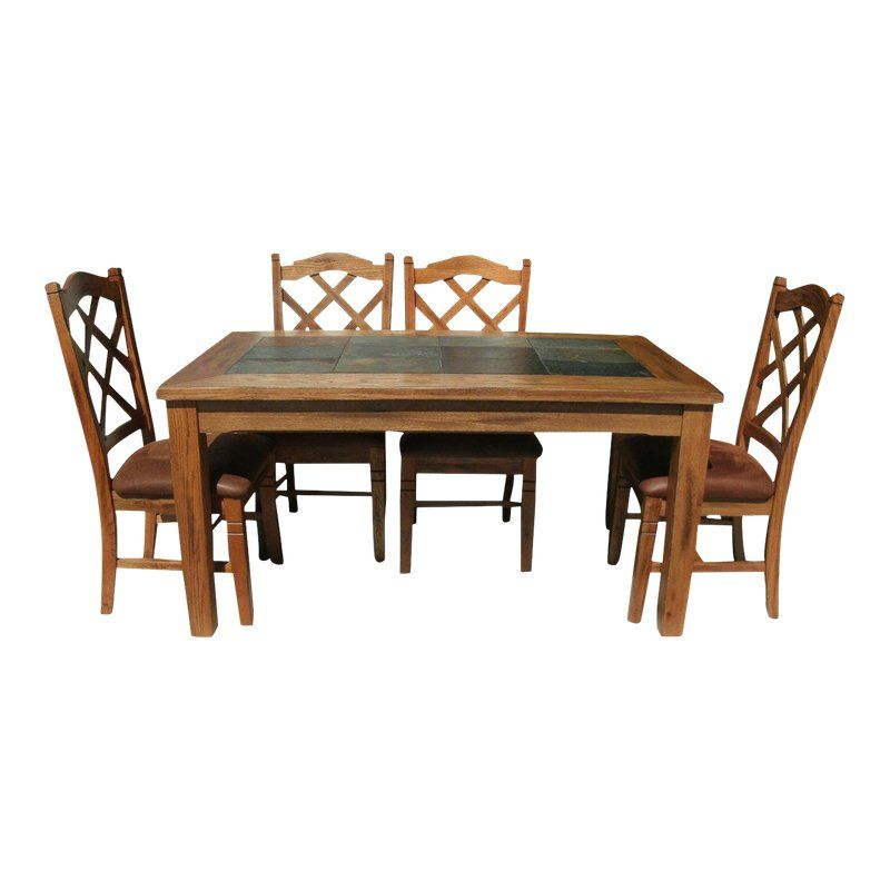 Rustic Slate Inlay Dining Table With Double Crossback Cushion