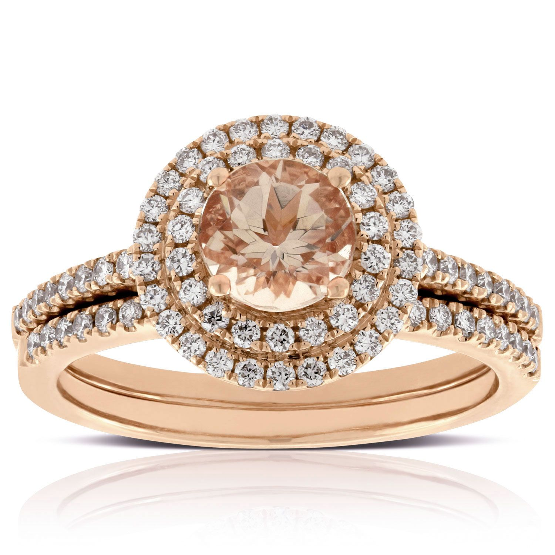 Rose Gold & Diamond Bridal Set 14K Diamond