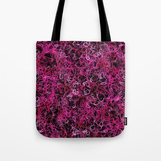 Hot Pink and Black Electric Lines tote bag by Khoncepts