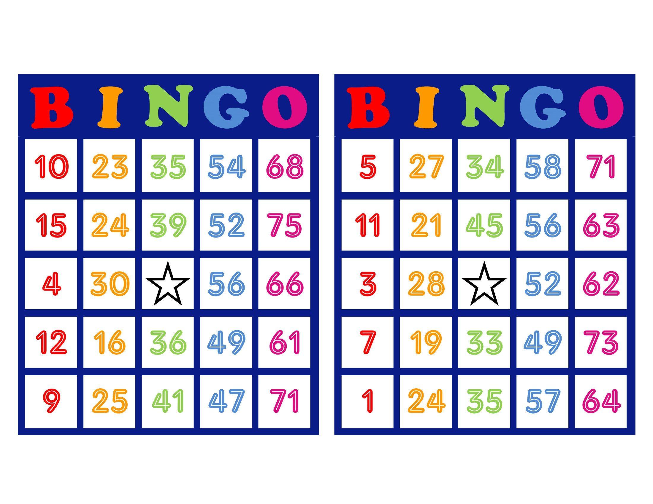 Bingo Cards 1000 Cards 2 Per Page Pdf Download Colorful Bingo Cards Custom Bingo Cards Bingo Patterns