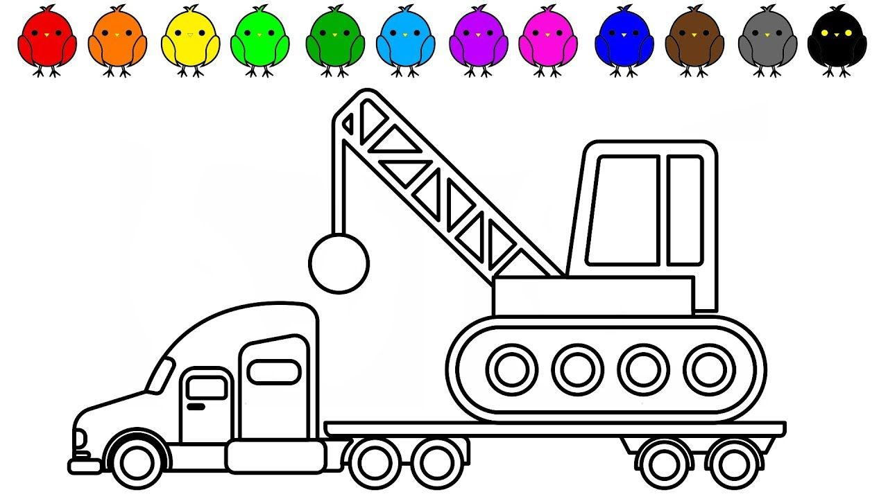 Learn Colors For Kids With Police Car Carrier Truck Coloring Book