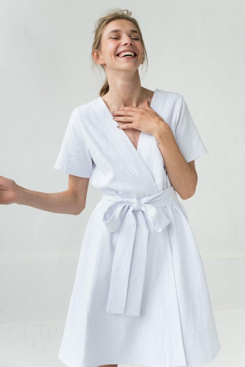 White Linen Dress White Summer Dress Linen Clothing V Neck Dress Linen Clothes Beach Linen Dress Stonewashed Linen Dress Linen Apparel In 2021 White Dress Summer Linen Clothes White Linen Dresses [ 1189 x 794 Pixel ]