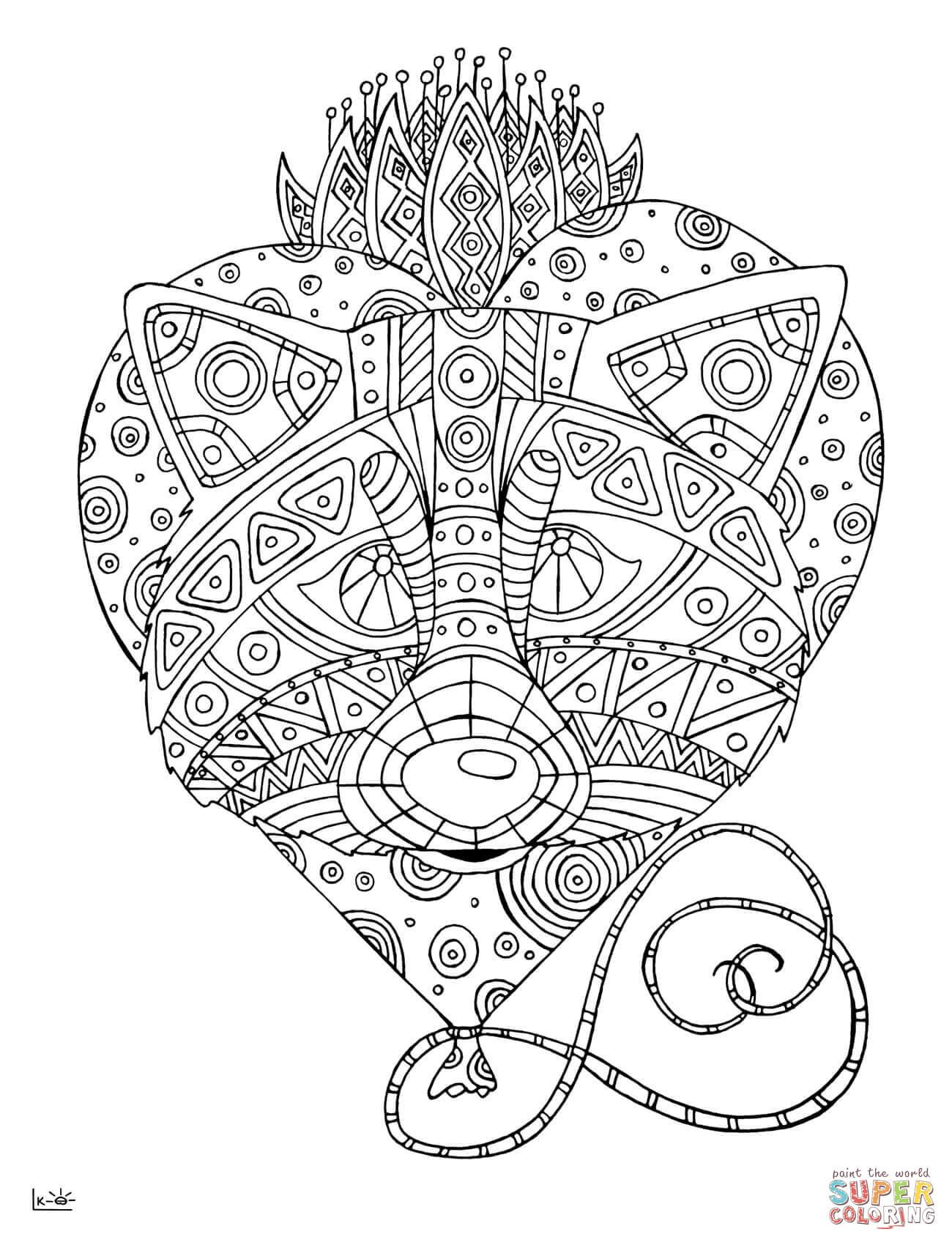 Raccoon With Tribal Pattern Super Coloring Pattern Coloring Pages Coloring Pages Animal Coloring Pages [ 1700 x 1300 Pixel ]