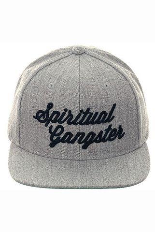 Spiritual Gangster Script Logo Snapback Hat Heather Grey Black - Spiritual Gangster - 1