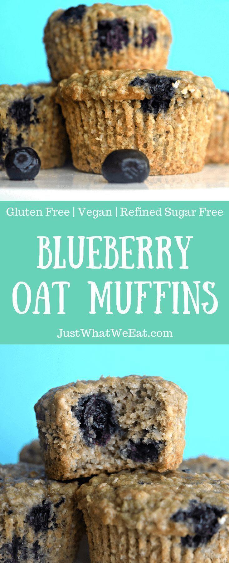 Blueberry Oat Muffins - Gluten Free, Vegan, & Refined Sugar Free #glutenfreebreakfasts