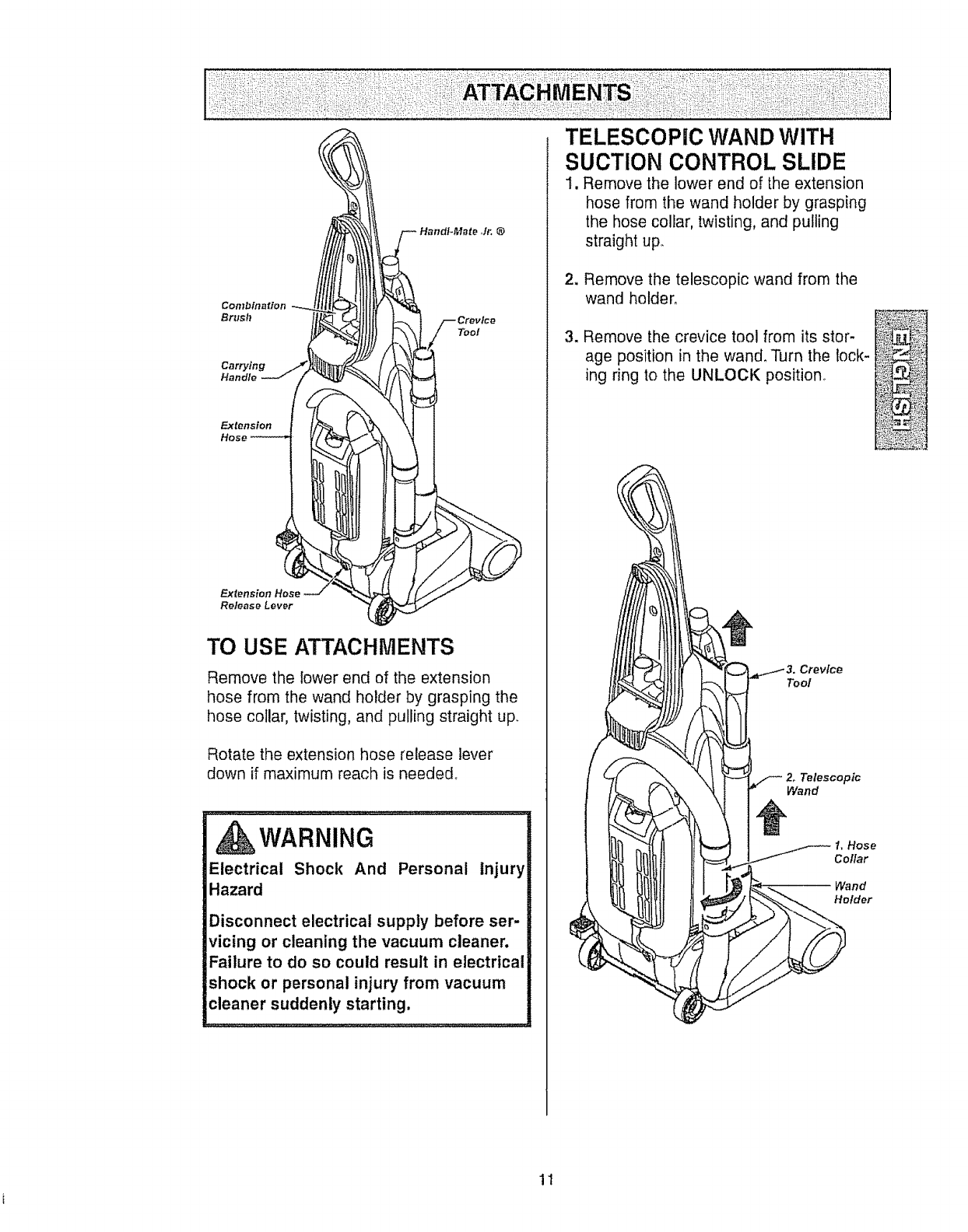 Page 11 of Kenmore Vacuum Cleaner 116.35922 User's Guide