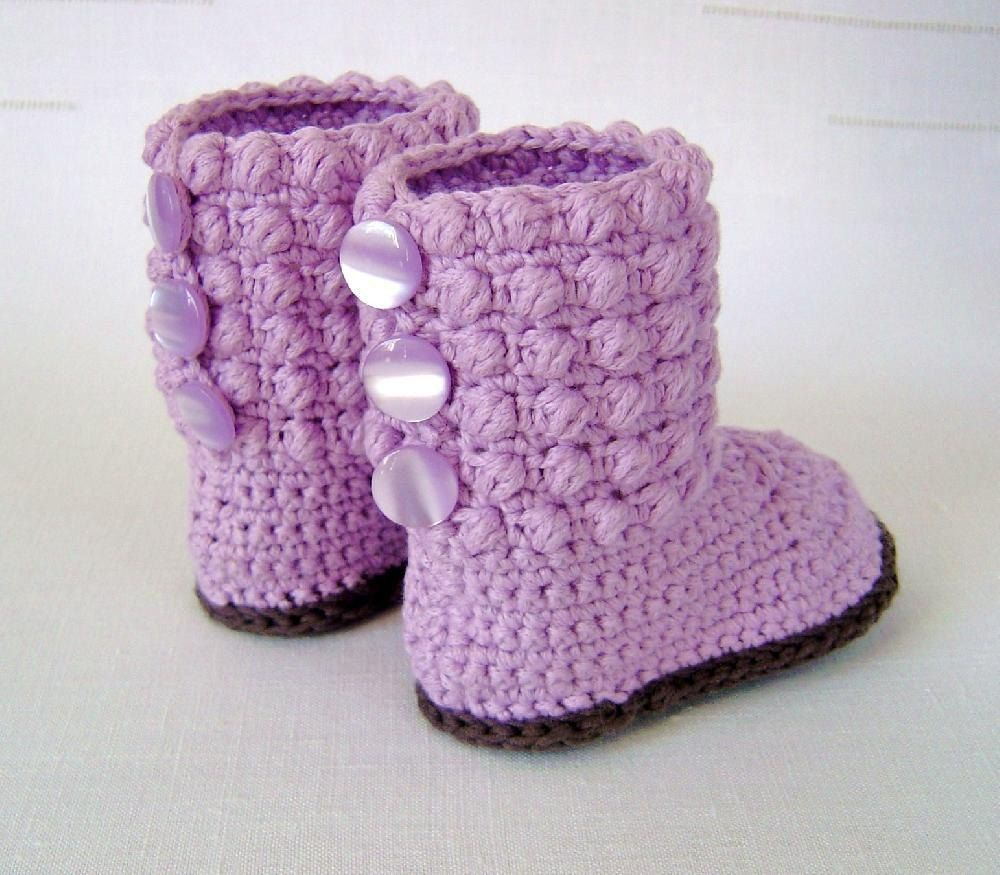 Bubble Stitch Baby Booties | Baby booties, Crochet and Stitch