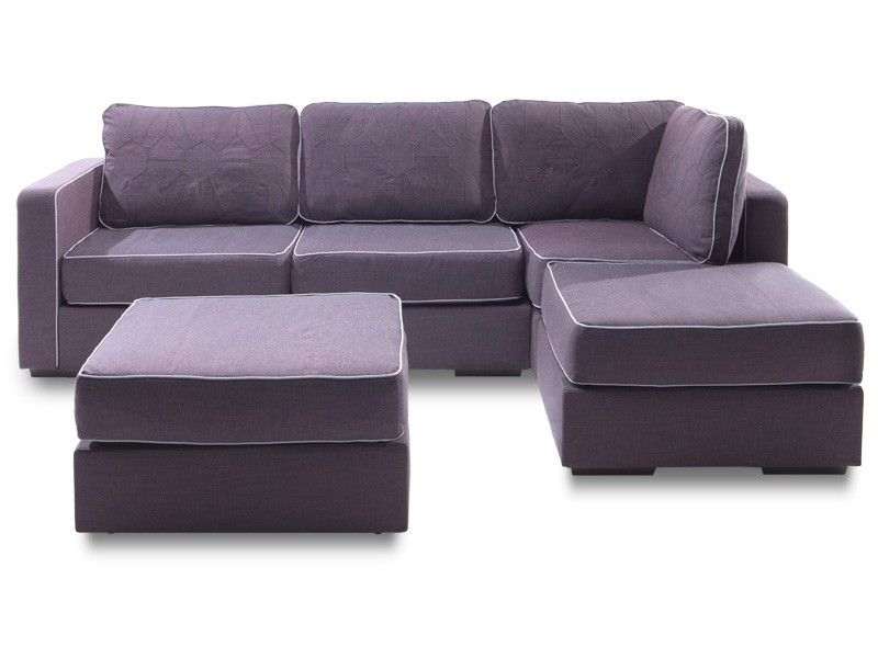 Four cushion chaise sectional and ottoman with sultan for Chaise cushion covers