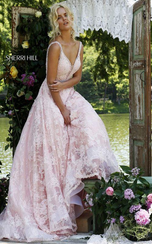 Sherri Hill 11314 Pink Lace Illusion A Line Long Prom Dress
