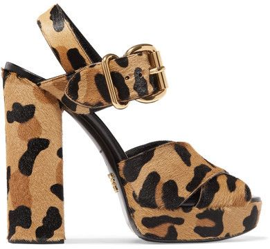9dd806b46c3 Prada - Leopard-print Calf Hair Platform Sandals - Leopard print http