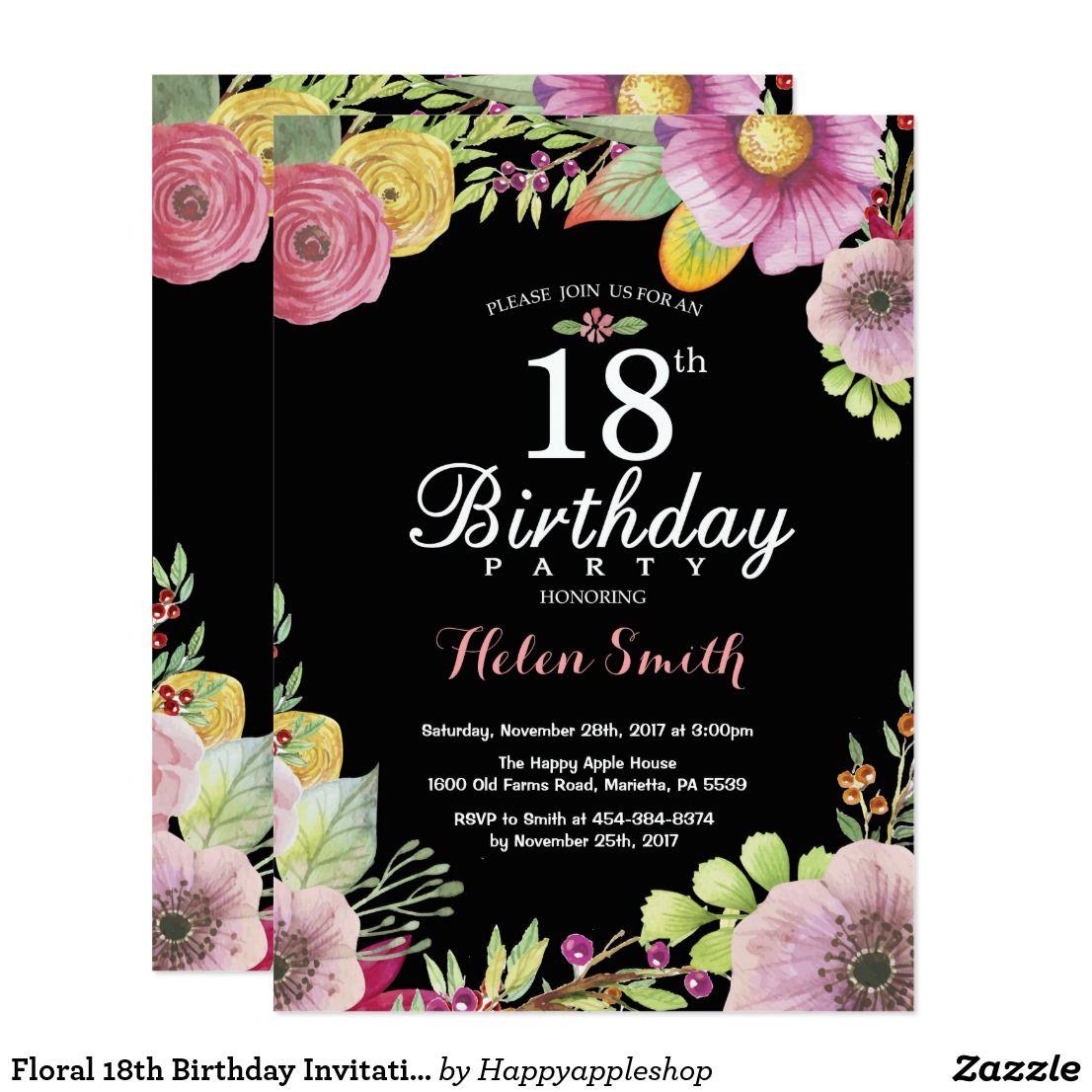 Floral 18th Birthday Invitation for Women | Birthday bash and Birthdays