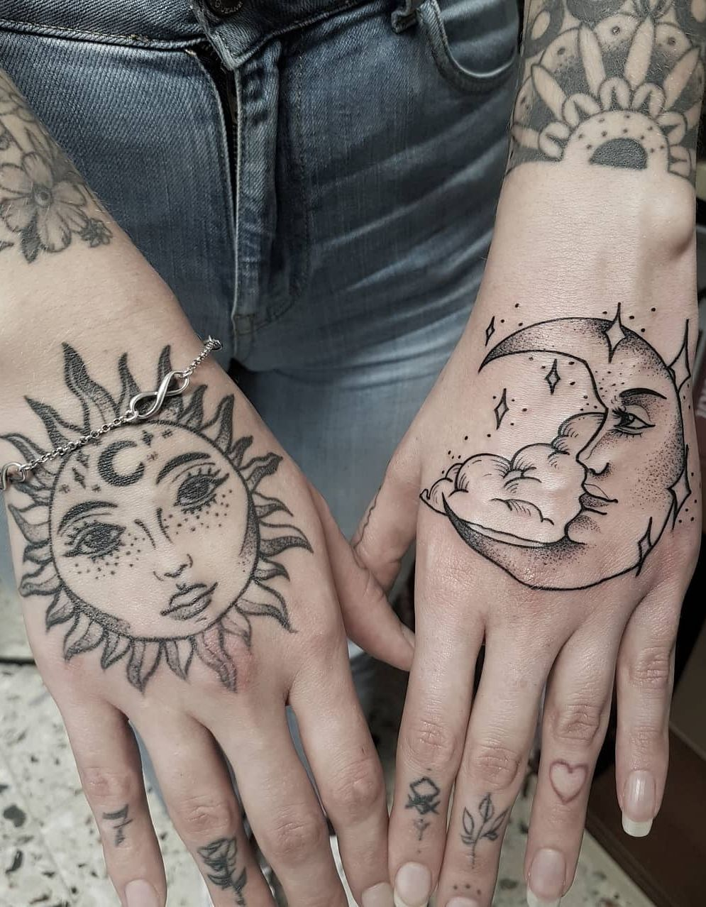 50 Meaningful And Beautiful Sun And Moon Tattoos Hand Tattoos Tattoos Moon Tattoo