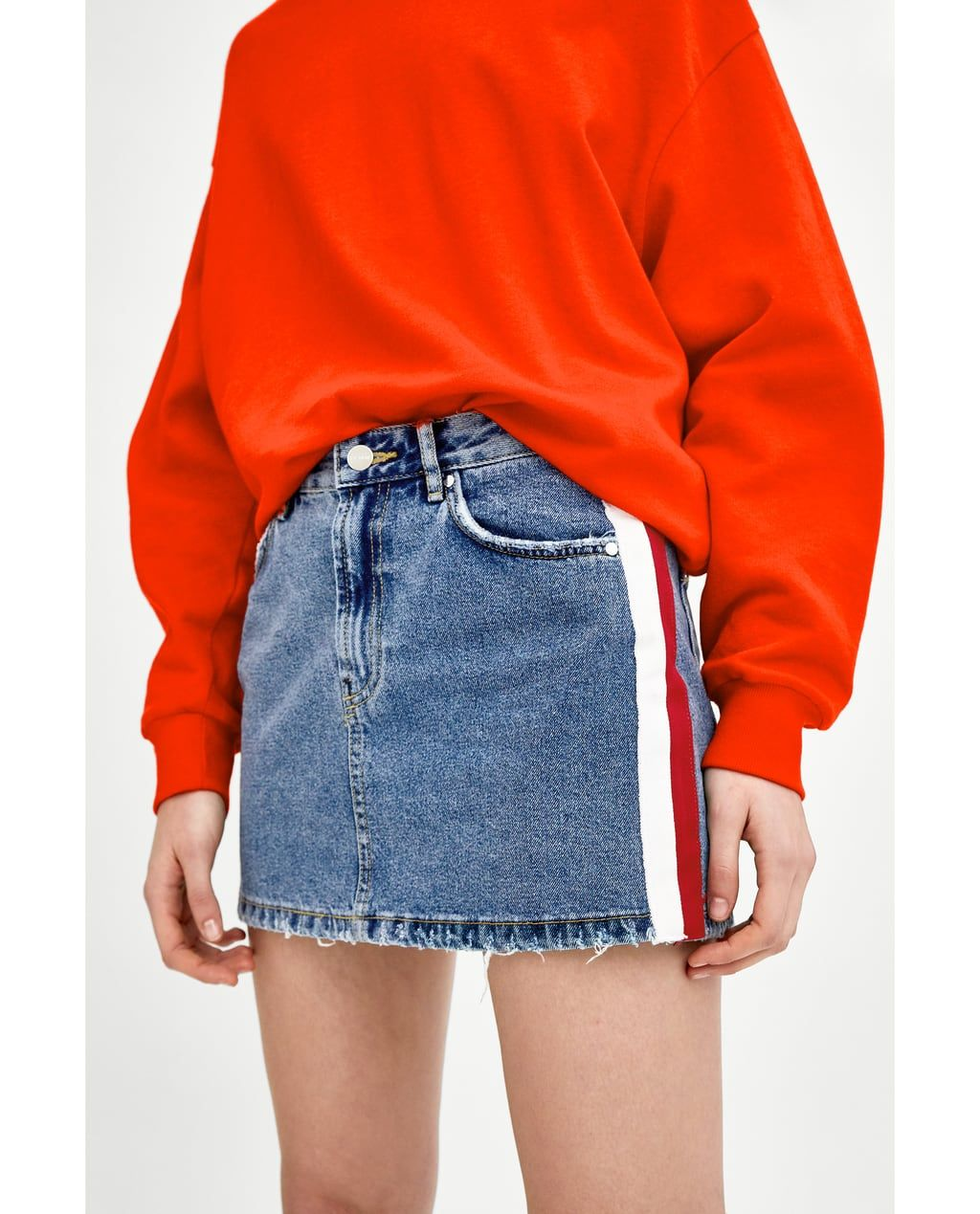 ed353367aa75 Image 2 of MID-RISE DENIM MINI SKIRT WITH SIDE STRIPES from Zara ...