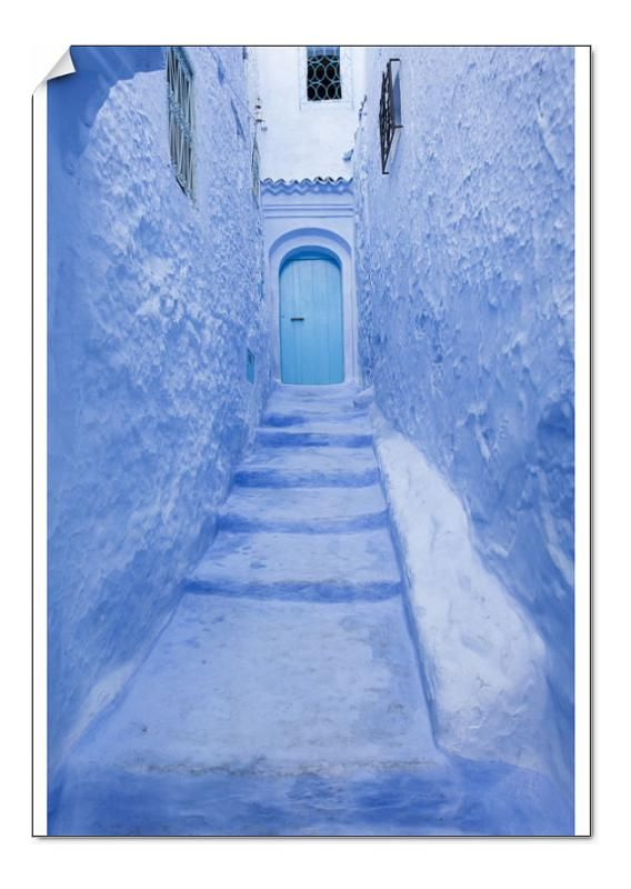 A0 Poster. Street in medina of blue town Chefchaouen, Morocco