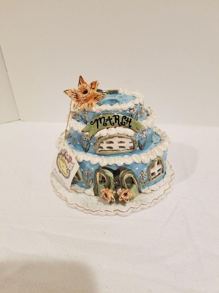 Blue Sky By Clayworks March Ceramic Birthday Cake Aquamarine Nwt W