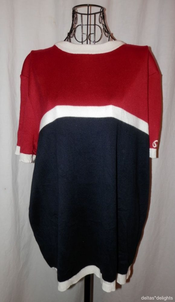ST. JOHN SPORT TOP L Large Red White Blue Knit Short Sleeve Crew Neck Career #StJohn #KnitTop #Career