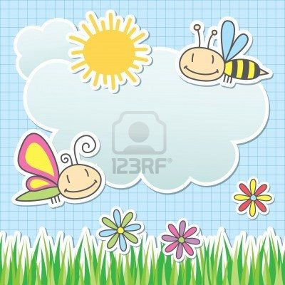 card with sun, cloud, butterfly and bee Stock Photo