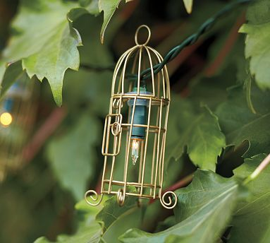 Pottery Barn Wire Bird Cage String Lights Ash For Your Deck! Nice Ideas