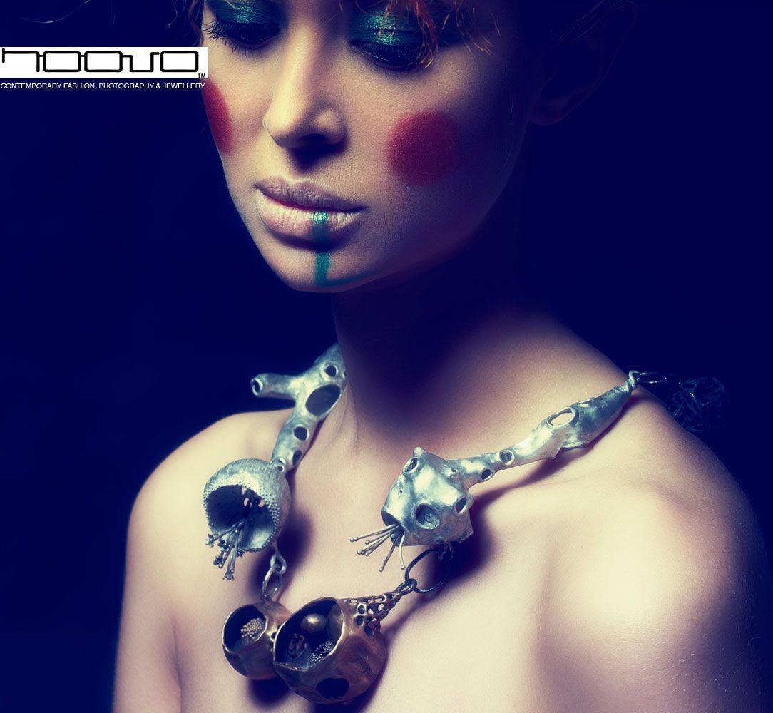 "N O O V O Nora Rochel -""Herbalism""/ Bronze, Aluminium, Fairtrade; Silver/ Necklace/ 2011/  Sebastian Lang, Model: Lisa Nordbakk, Hair & Make-up: Pamela Schneider"