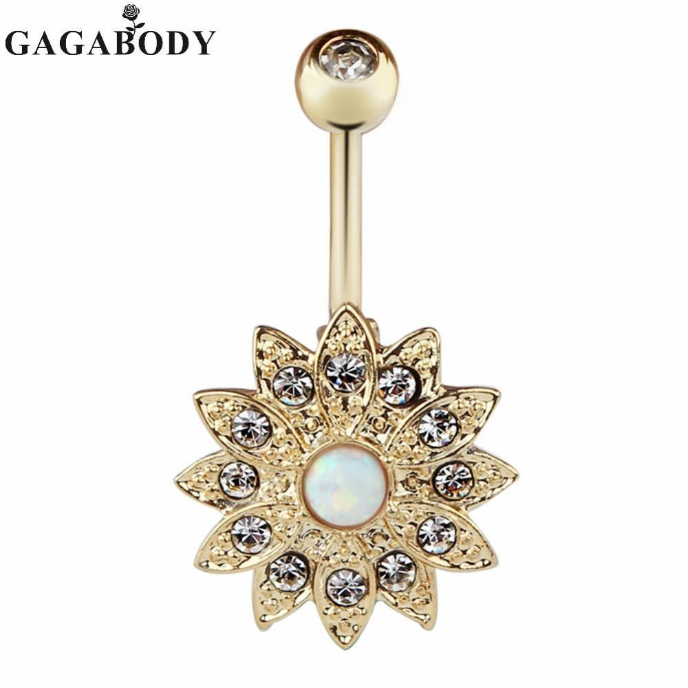 Body piercing jewelry   Wholesale PCS Opal Belly Button Ring Jeweled Flower G Girls