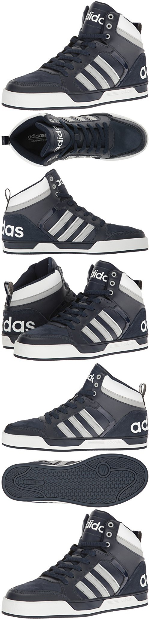 10.5 NEW ADIDAS NEO RALEIGH 9TIS MID SHOES Black White Gray