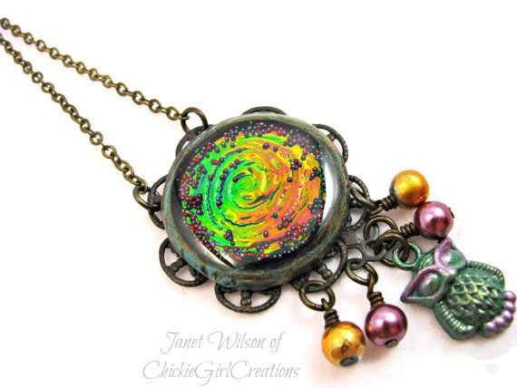 Owl Holographic Swirl Necklace  Polymer by ChickieGirlCreations, $33.00