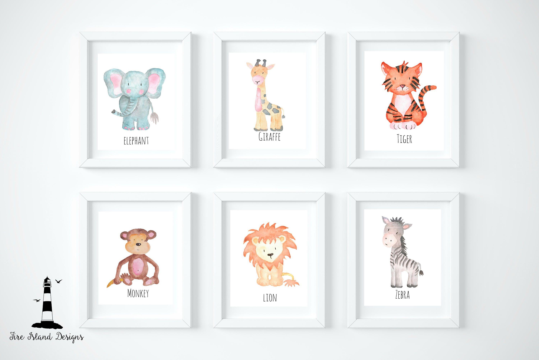 - Set Of 6 Safari Nursery Prints, Safari Animal Prints, Safari