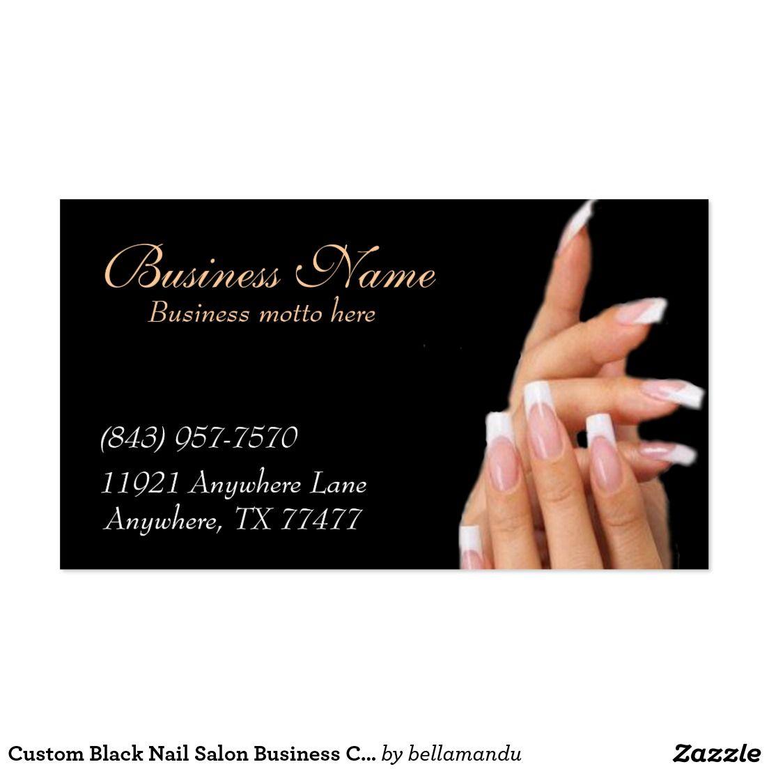 Custom Black Nail Salon Business Cards Zazzle.co.uk