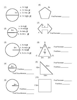 Area circumference worksheet pdf