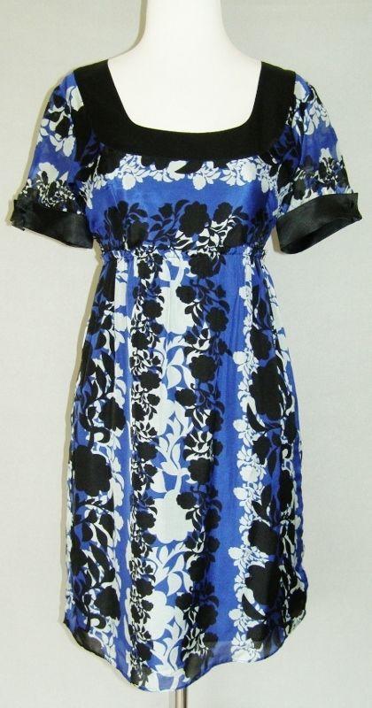 PAPER DENIM & CLOTH Blue & Black Floral Silk Empire Lined Shift Style Dress - 2 #PaperDenimCloth #EmpireWaist #Casual