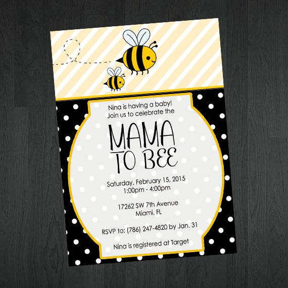 Cute Baby Shower Invitations  Mama To Bee by MemorableImprints