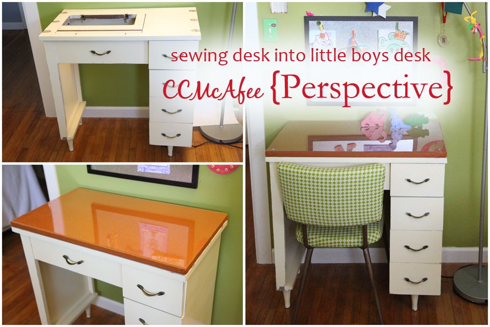 Perspective... sewing desk into little boys desk