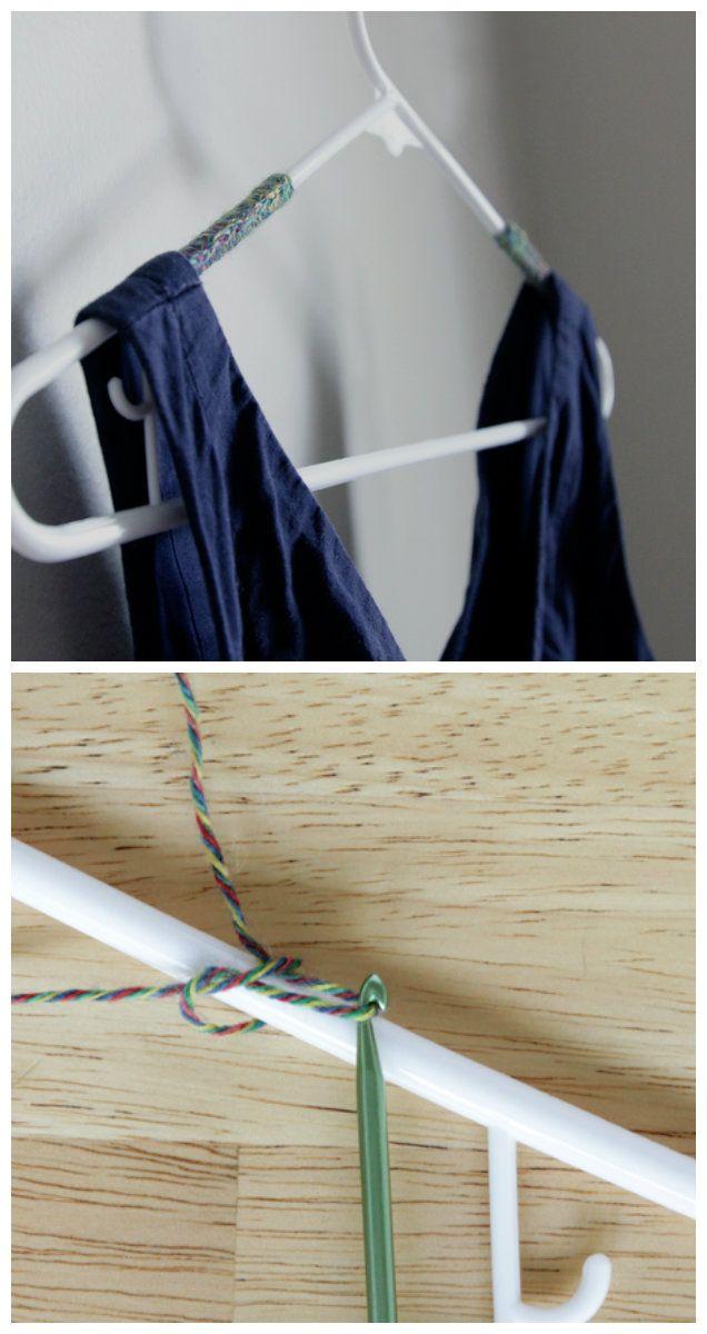 Para que no resbale la ropa colgada: lana con ganchillo.