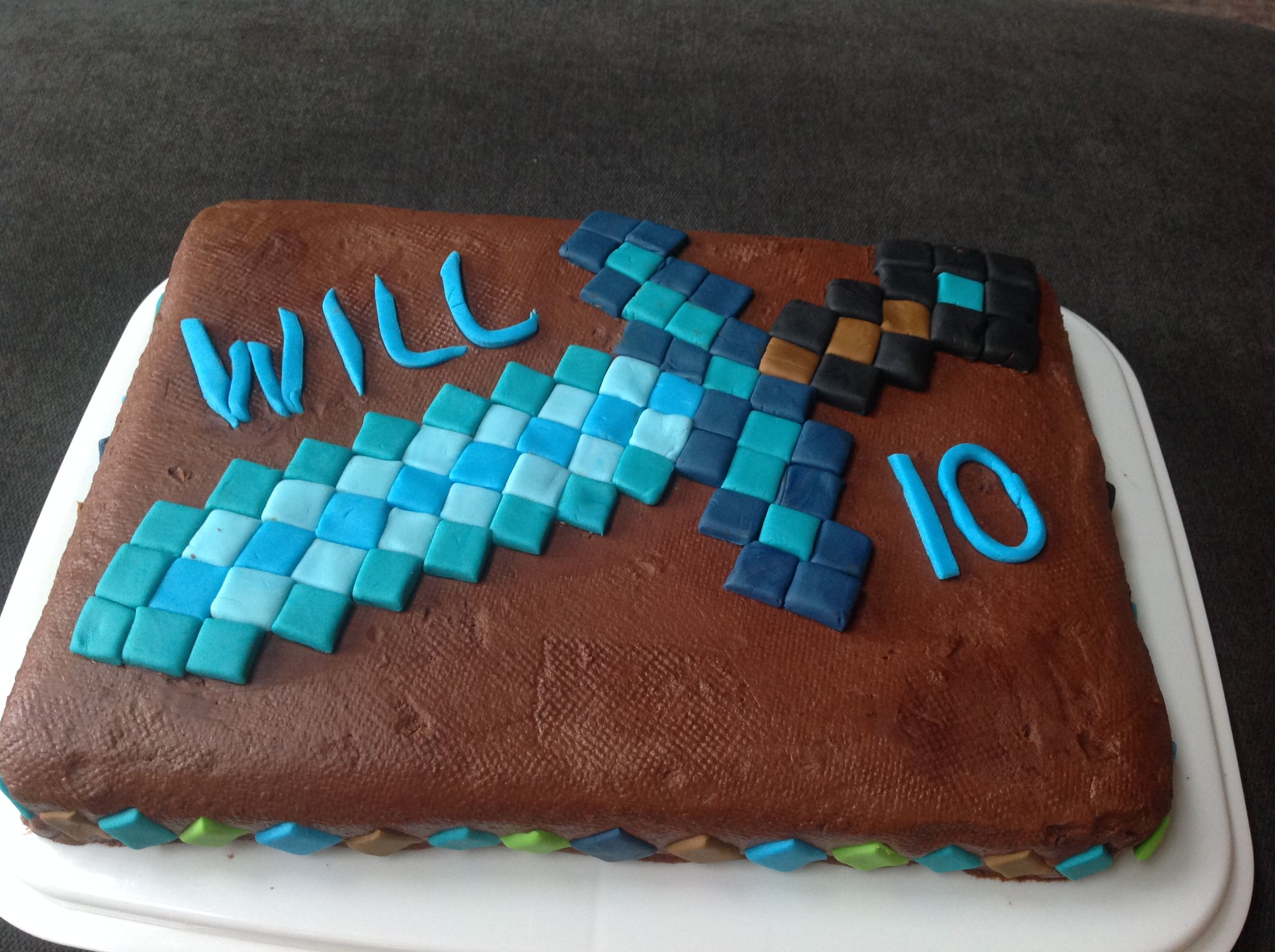 Minecraft Diamond Sword Cake