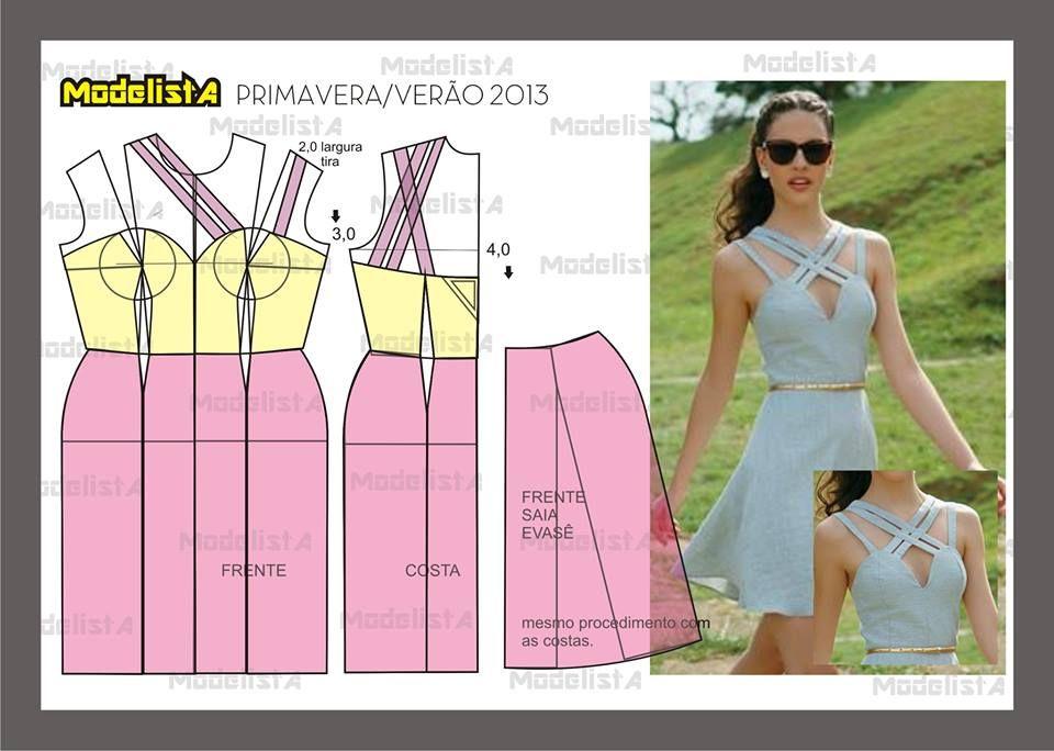 Modelagem de vestido com alças transpassadas. Fonte: https://www.facebook.com/photo.php?fbid=571575852878324&set=pb.422942631074981.-2207520000.1382876578.&type=3&theater