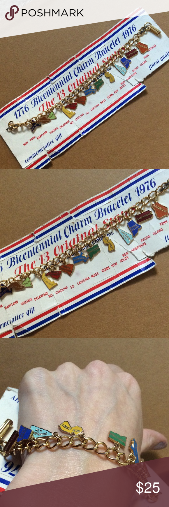 Bicentennial Historical State Charm Bracelet Rainbow colors. The 13 original states. United States of America. American pride. New York Maryland Virginia Delaware North Carolina South Carolina Massachusetts Connecticut New Jersey New Hampshire Rhode Island Pennsylvania in Georgia. Golden tone chain. Shapes. Commemorative gift. Collectible. Genuine cloisonné emblems liberty and justice for all. Vintage Jewelry Bracelets