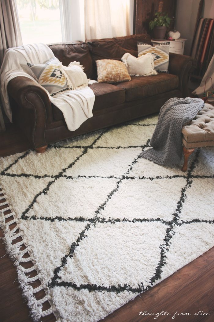 Thoughts From Alice Boho Chic Living Room Makeover Finding The Perfect Rug Rugs Usa Marrakesh Area Pattern Plaid Bedroom