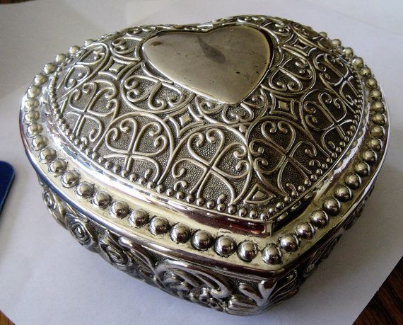 Silver Heart Jewelry Box 2 Pc Silvertone Victorian Trinket Box